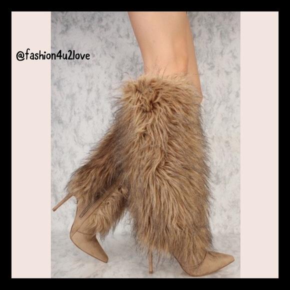 4ba1a9c37e6f Cape Robbin Khaki Faux Fur Knee High Boots Suede
